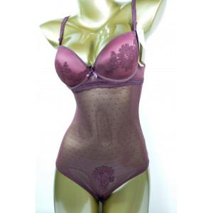 Кружевное боди Porlloma № 2006 с чашкой В Сливово-бордовый