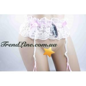 Пояс для чулков Lianglijiaren № 0811 Бело-розовый
